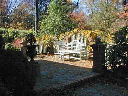 Patio with Lutyens bench, Cashiers, North Carolina